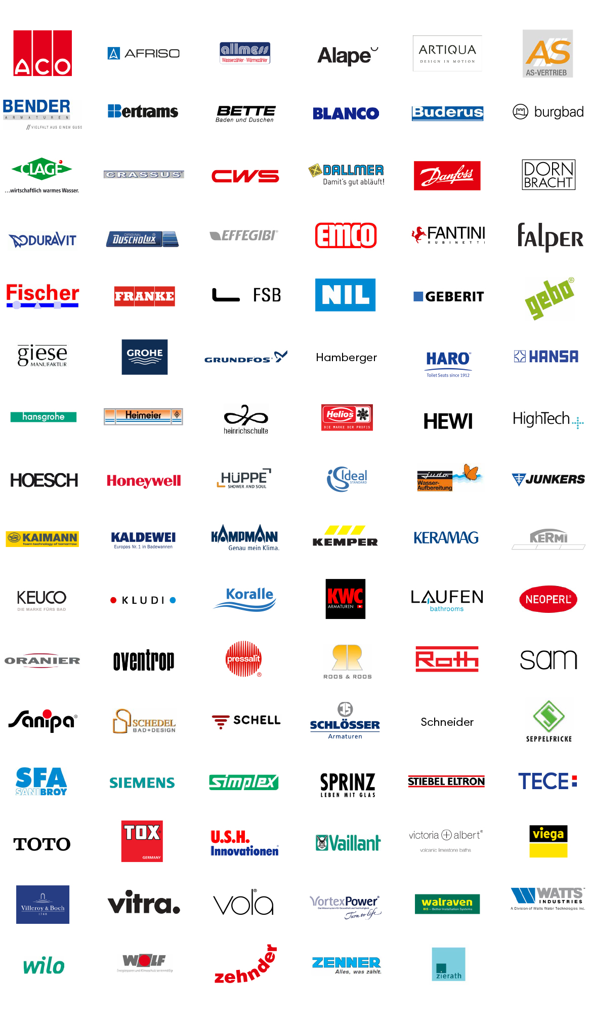 Wahl Sanitär supply partners manufacturers we work with